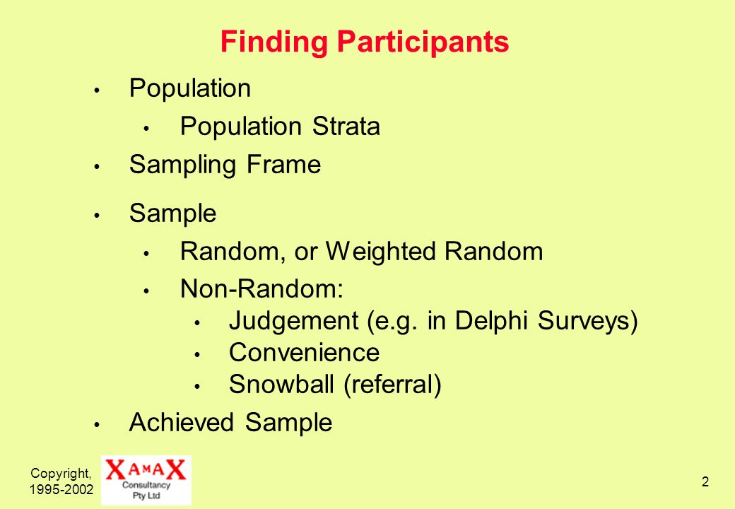 Copyright, 1995-2002 2 Finding Participants Population Population Strata Sampling Frame Sample Random, or Weighted Random Non-Random: Judgement (e.g.