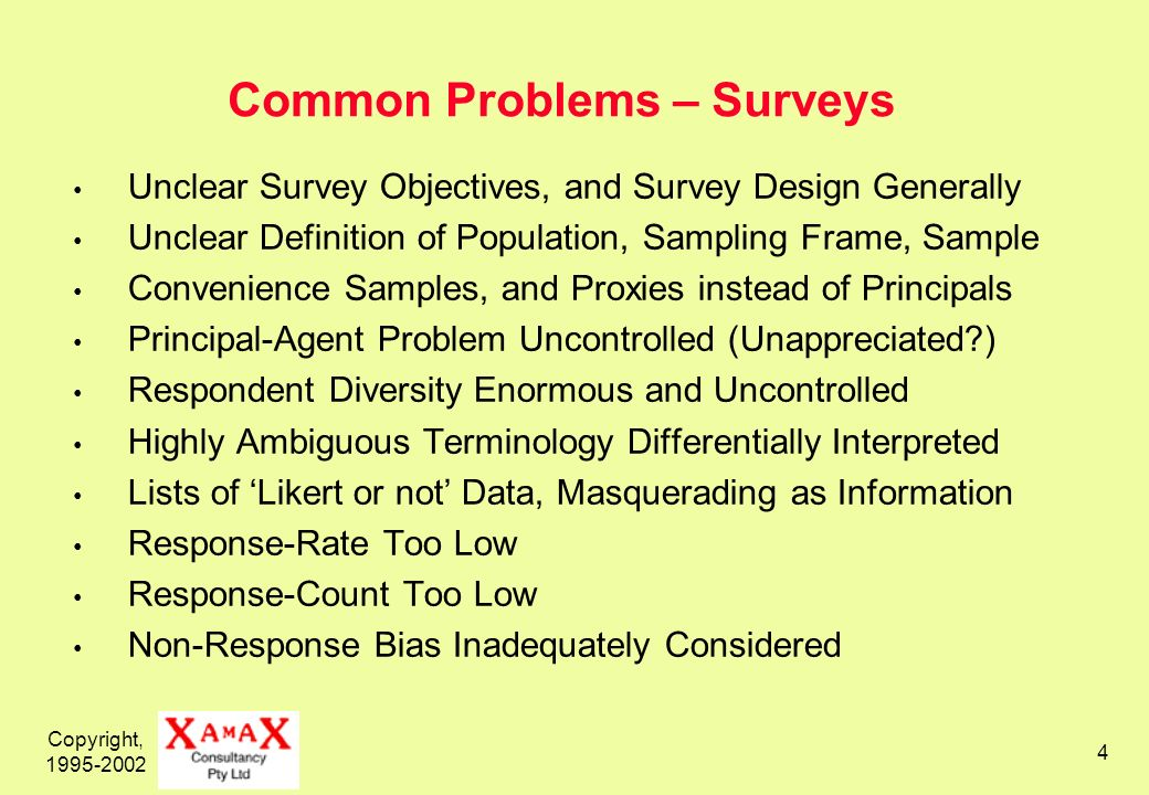 Copyright, 1995-2002 4 Common Problems – Surveys Unclear Survey Objectives, and Survey Design Generally Unclear Definition of Population, Sampling Fra