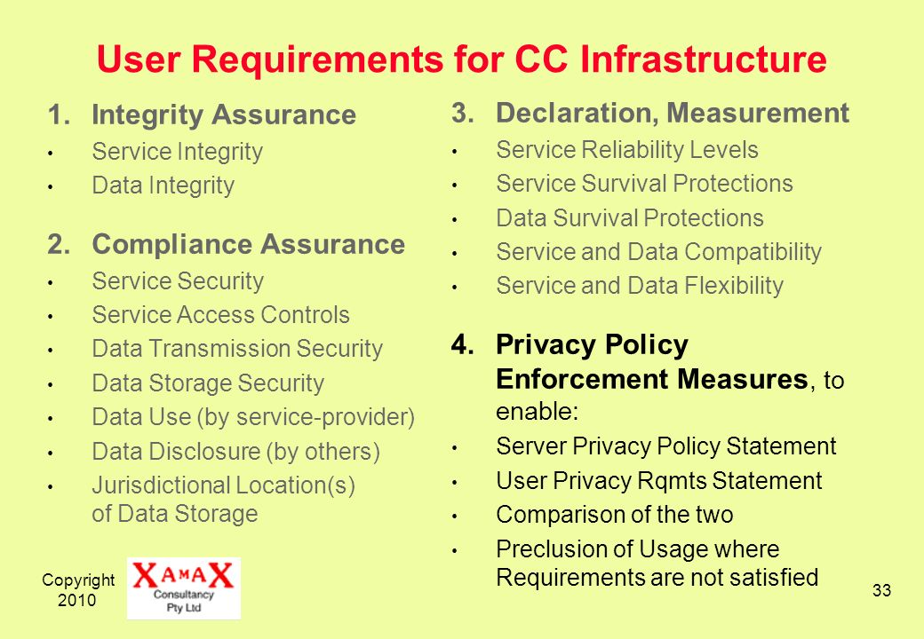 Copyright User Requirements for CC Infrastructure 1.Integrity Assurance Service Integrity Data Integrity 2.Compliance Assurance Service Security Service Access Controls Data Transmission Security Data Storage Security Data Use (by service-provider) Data Disclosure (by others) Jurisdictional Location(s) of Data Storage 3.Declaration, Measurement Service Reliability Levels Service Survival Protections Data Survival Protections Service and Data Compatibility Service and Data Flexibility 4.Privacy Policy Enforcement Measures, to enable: Server Privacy Policy Statement User Privacy Rqmts Statement Comparison of the two Preclusion of Usage where Requirements are not satisfied