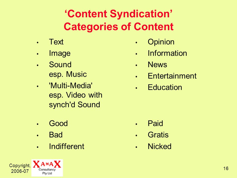Copyright, 2006-07 16 Content Syndication Categories of Content Text Image Sound esp.