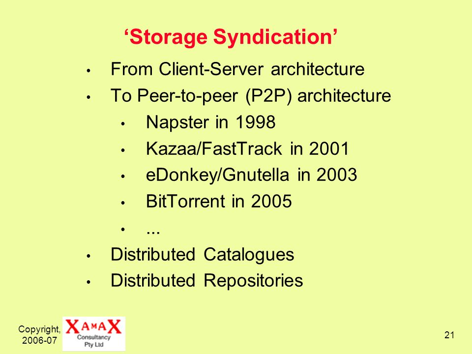 Copyright, 2006-07 21 Storage Syndication From Client-Server architecture To Peer-to-peer (P2P) architecture Napster in 1998 Kazaa/FastTrack in 2001 eDonkey/Gnutella in 2003 BitTorrent in 2005...