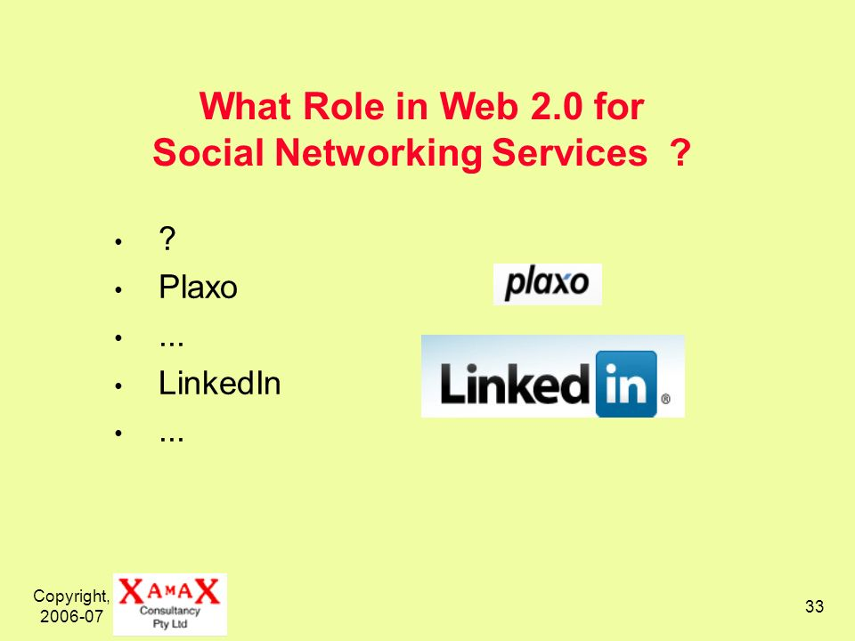 Copyright, 2006-07 33 What Role in Web 2.0 for Social Networking Services ? ? Plaxo... LinkedIn...