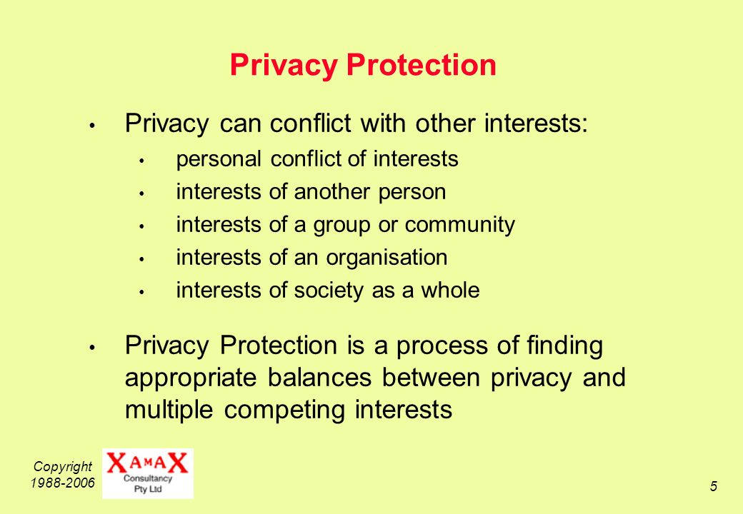 Copyright Privacy Protection Privacy can conflict with other interests: personal conflict of interests interests of another person interests of a group or community interests of an organisation interests of society as a whole Privacy Protection is a process of finding appropriate balances between privacy and multiple competing interests