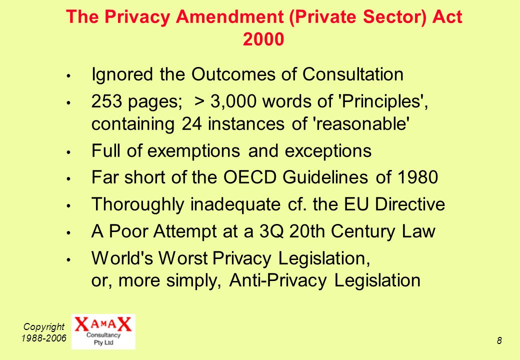 Copyright The Privacy Amendment (Private Sector) Act 2000 Ignored the Outcomes of Consultation 253 pages; > 3,000 words of Principles , containing 24 instances of reasonable Full of exemptions and exceptions Far short of the OECD Guidelines of 1980 Thoroughly inadequate cf.