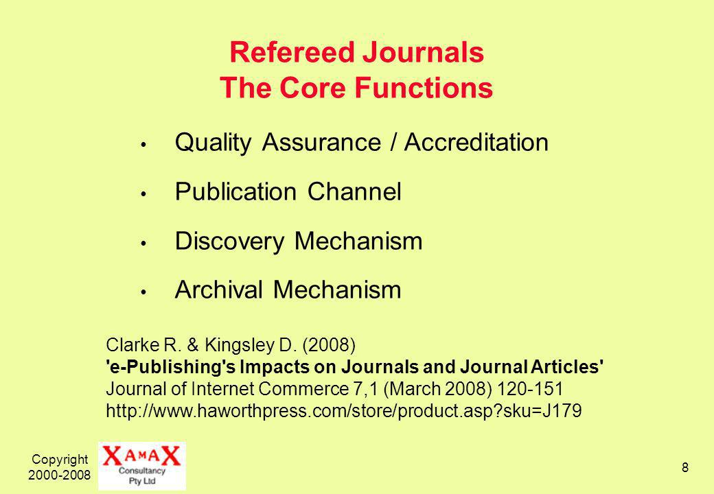 Copyright 2000-2008 8 Refereed Journals The Core Functions Quality Assurance / Accreditation Publication Channel Discovery Mechanism Archival Mechanism Clarke R.