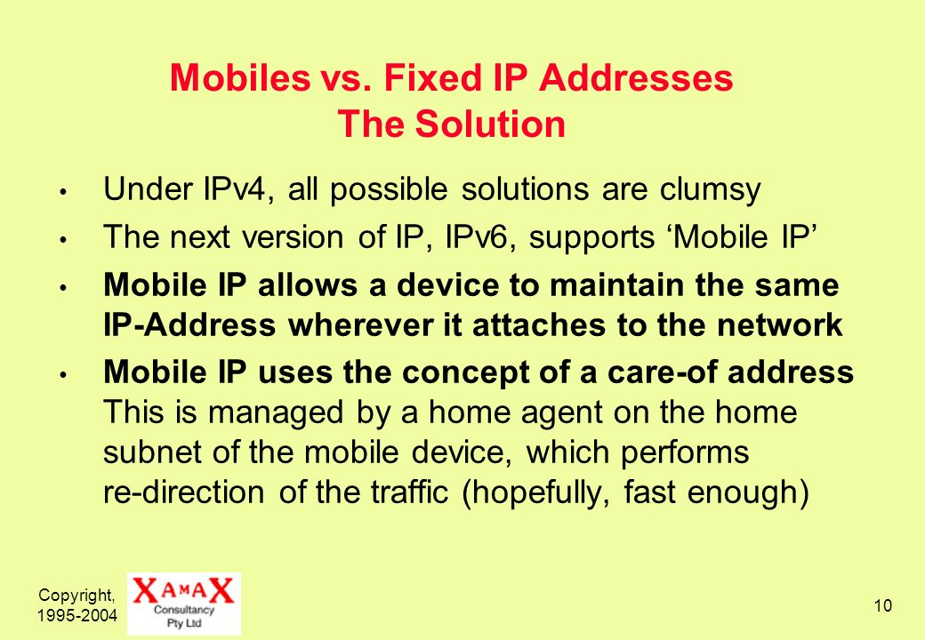 Copyright, 1995-2004 10 Mobiles vs. Fixed IP Addresses The Solution Under IPv4, all possible solutions are clumsy The next version of IP, IPv6, suppor
