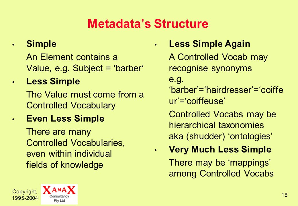 Copyright, Metadatas Structure Simple An Element contains a Value, e.g.