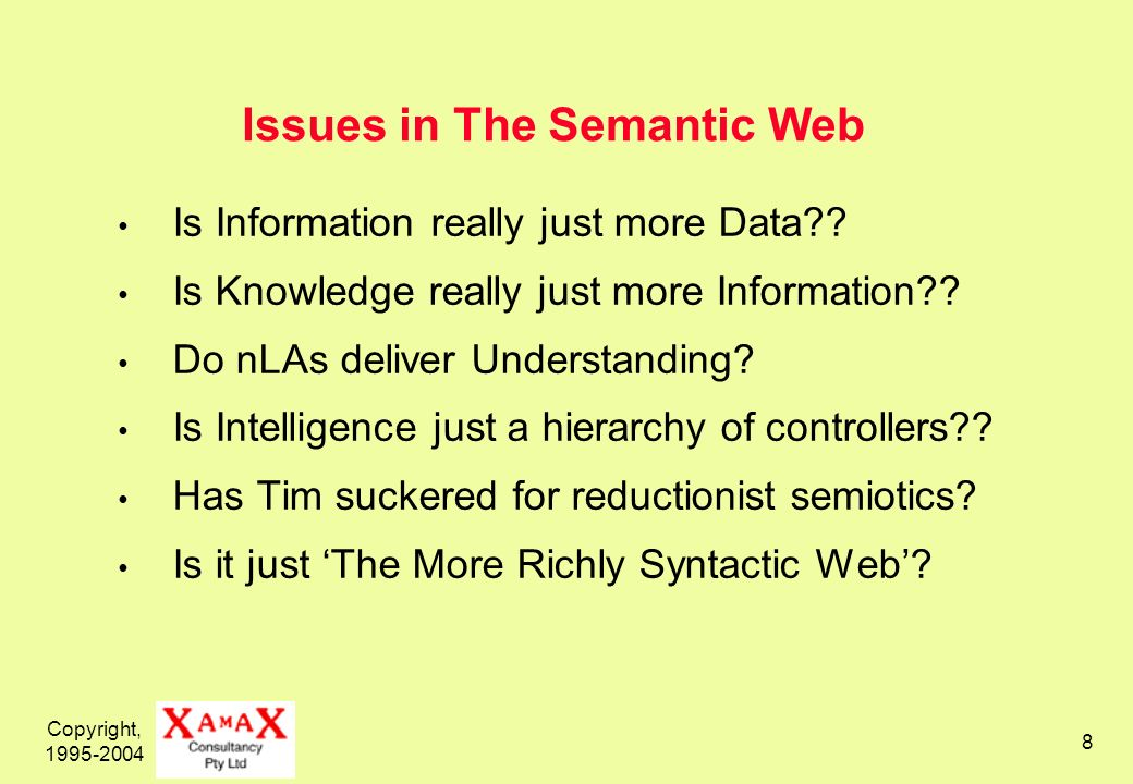 Copyright, Issues in The Semantic Web Is Information really just more Data .