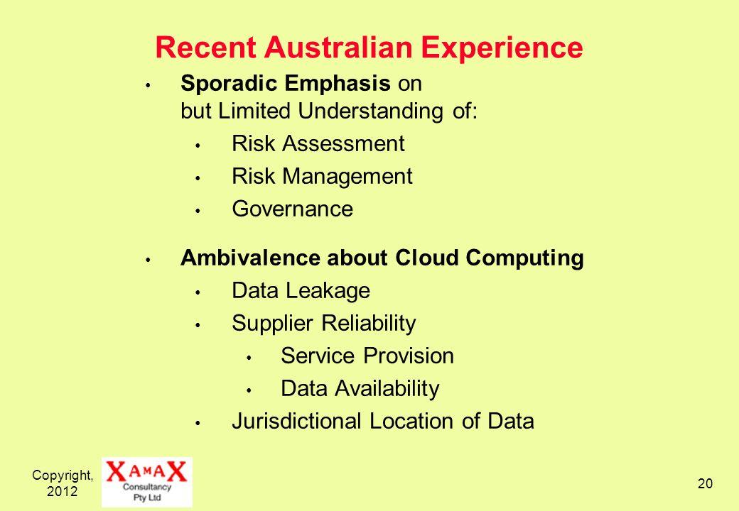 Copyright, 2012 20 Recent Australian Experience Sporadic Emphasis on but Limited Understanding of: Risk Assessment Risk Management Governance Ambivale