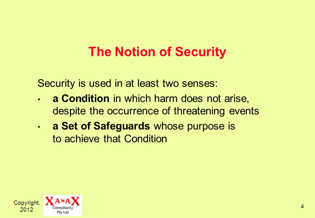 Copyright, 2012 4 The Notion of Security Security is used in at least two senses: a Condition in which harm does not arise, despite the occurrence of