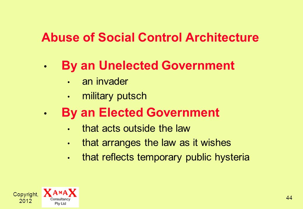 Copyright, 2012 44 Abuse of Social Control Architecture By an Unelected Government an invader military putsch By an Elected Government that acts outsi