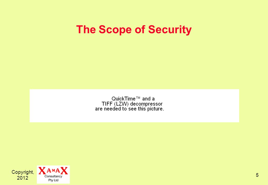 Copyright, 2012 5 The Scope of Security