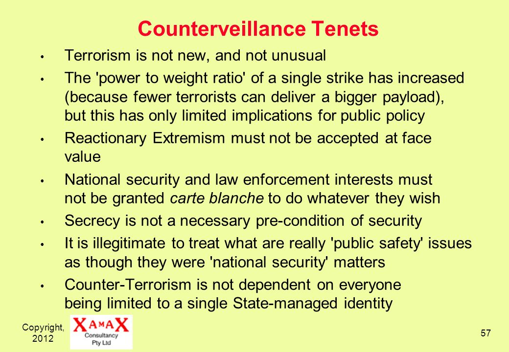 Copyright, 2012 57 Counterveillance Tenets Terrorism is not new, and not unusual The 'power to weight ratio' of a single strike has increased (because