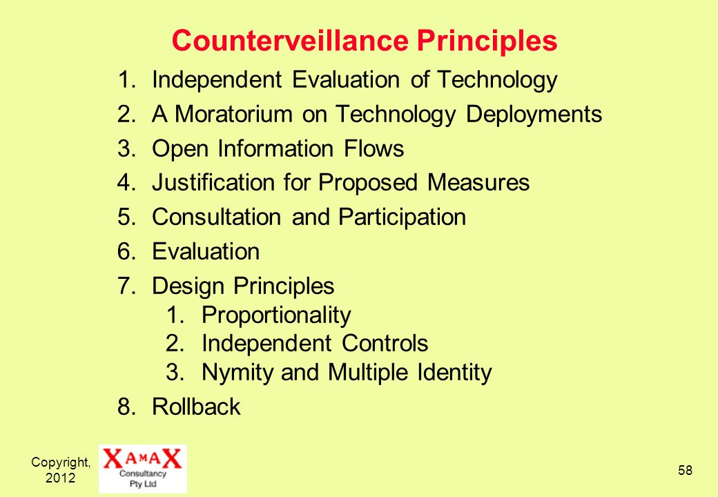 Copyright, 2012 58 Counterveillance Principles 1.Independent Evaluation of Technology 2.A Moratorium on Technology Deployments 3.Open Information Flow