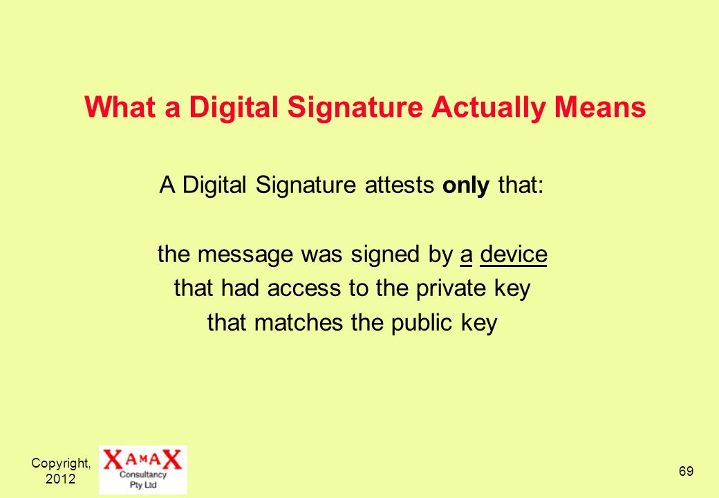 Copyright, 2012 69 What a Digital Signature Actually Means A Digital Signature attests only that: the message was signed by a device that had access t