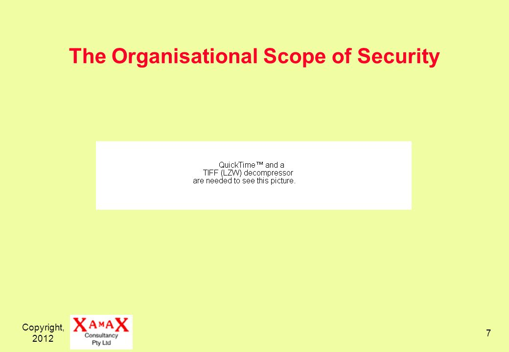 Copyright, 2012 7 The Organisational Scope of Security