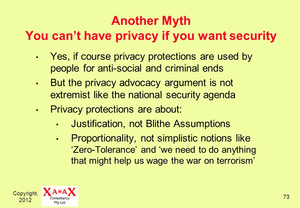 Copyright, 2012 73 Another Myth You cant have privacy if you want security Yes, if course privacy protections are used by people for anti-social and c
