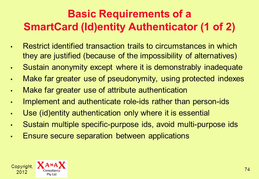 Copyright, 2012 74 Basic Requirements of a SmartCard (Id)entity Authenticator (1 of 2) Restrict identified transaction trails to circumstances in whic