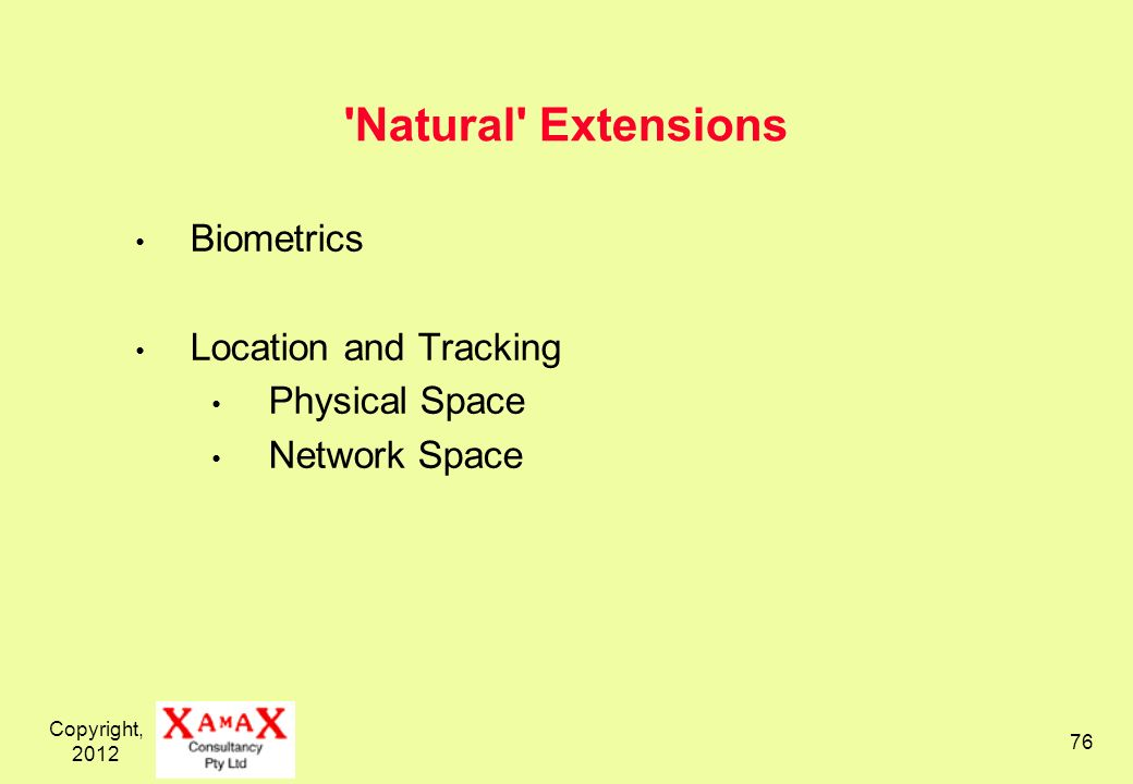 Copyright, 2012 76 'Natural' Extensions Biometrics Location and Tracking Physical Space Network Space
