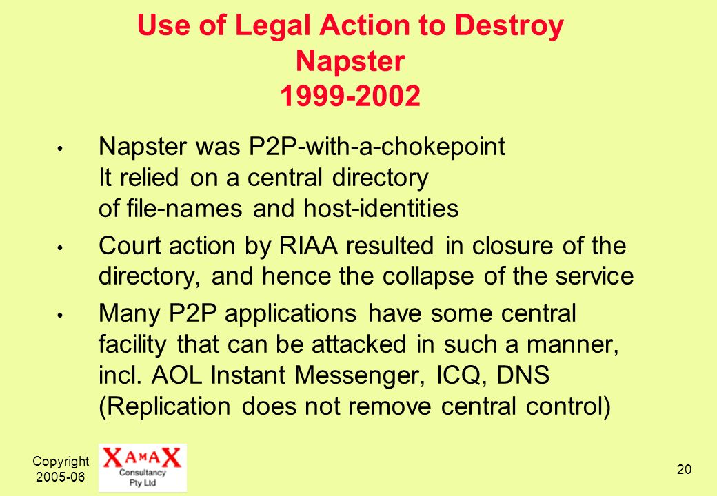 Copyright 2005-06 20 Use of Legal Action to Destroy Napster 1999-2002 Napster was P2P-with-a-chokepoint It relied on a central directory of file-names and host-identities Court action by RIAA resulted in closure of the directory, and hence the collapse of the service Many P2P applications have some central facility that can be attacked in such a manner, incl.