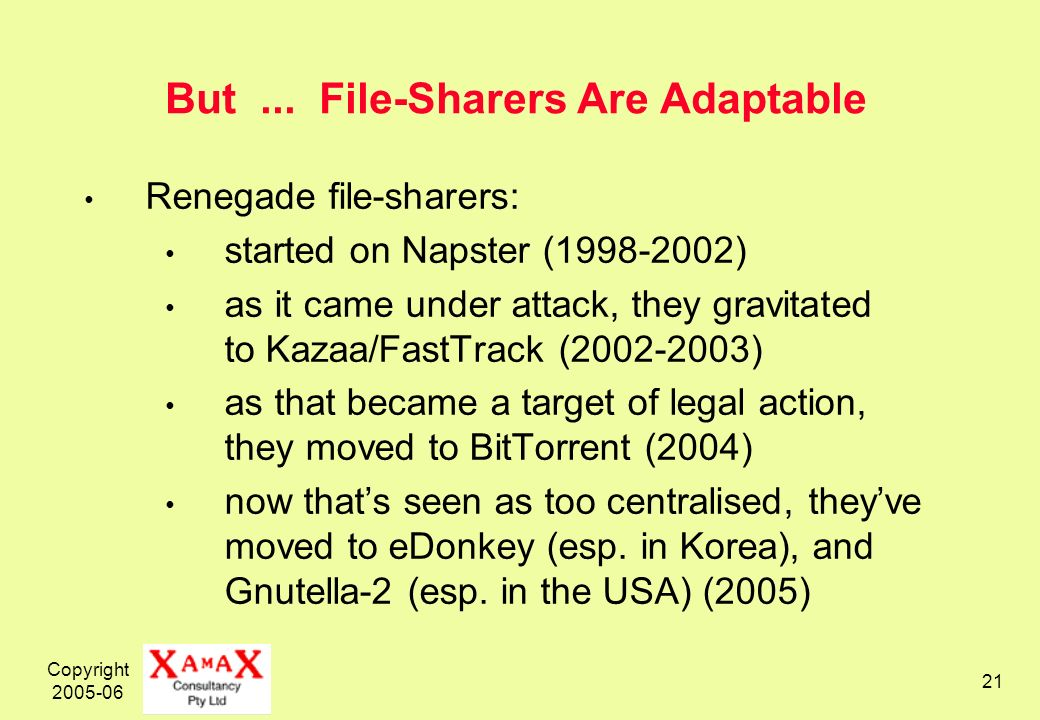 Copyright 2005-06 21 But... File-Sharers Are Adaptable Renegade file-sharers: started on Napster (1998-2002) as it came under attack, they gravitated