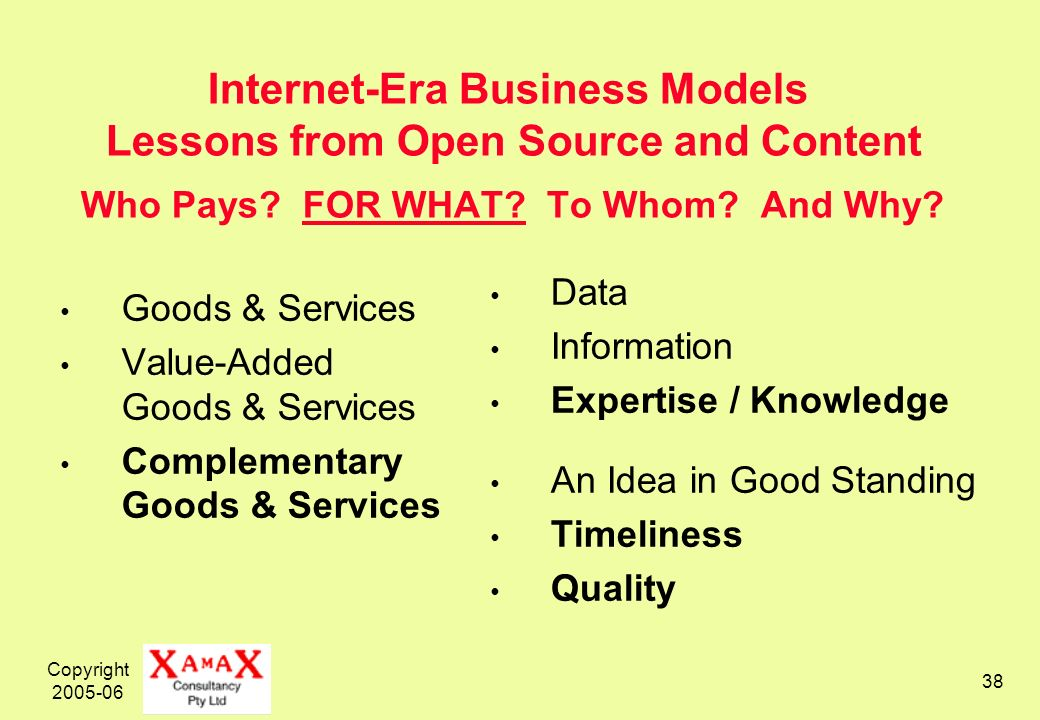 Copyright 2005-06 38 Internet-Era Business Models Lessons from Open Source and Content Who Pays.