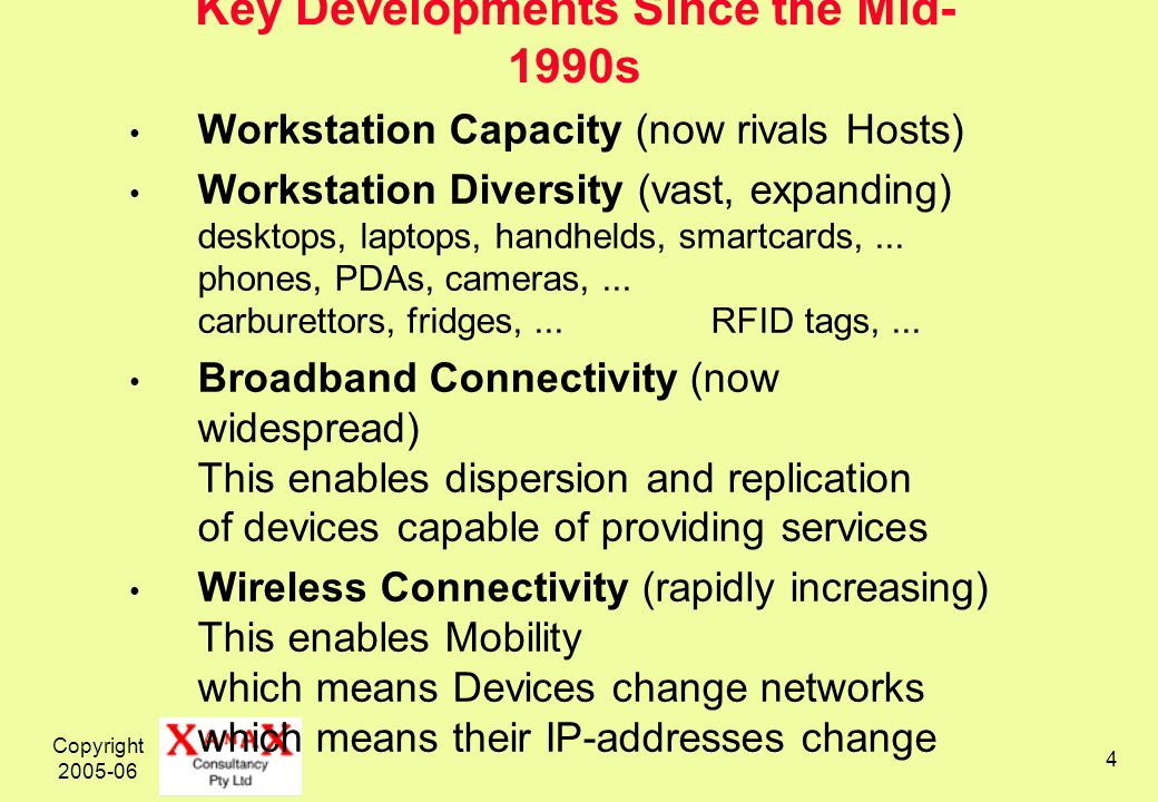 Copyright 2005-06 4 Key Developments Since the Mid- 1990s Workstation Capacity (now rivals Hosts) Workstation Diversity (vast, expanding) desktops, laptops, handhelds, smartcards,...