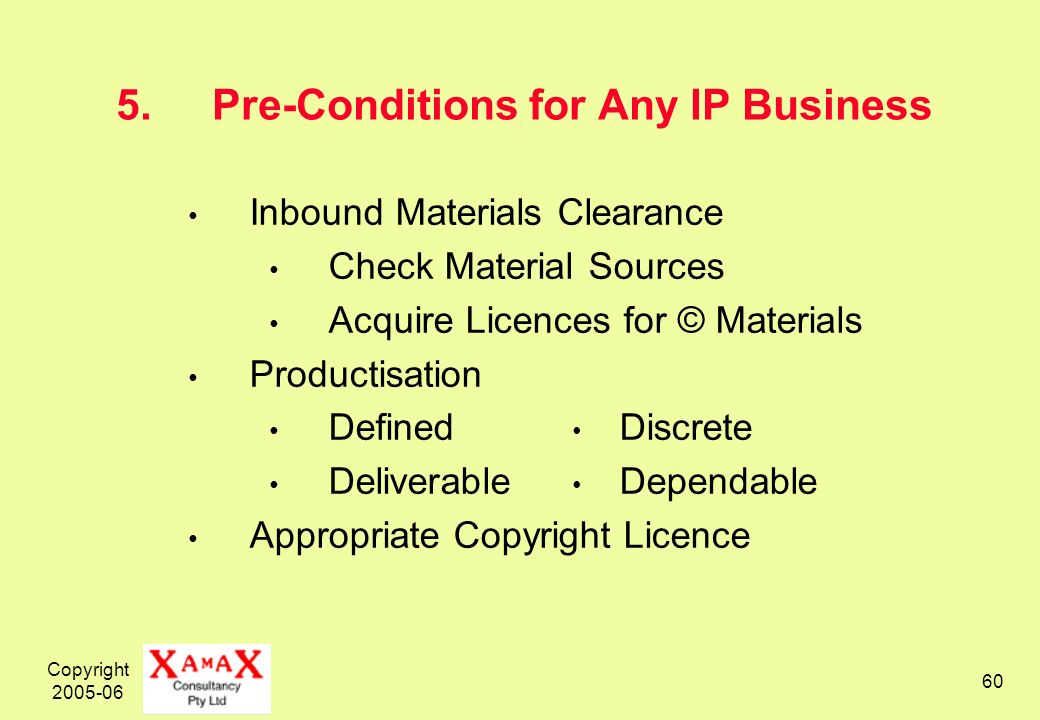 Copyright 2005-06 60 5.Pre-Conditions for Any IP Business Inbound Materials Clearance Check Material Sources Acquire Licences for © Materials Productisation Defined Discrete Deliverable Dependable Appropriate Copyright Licence