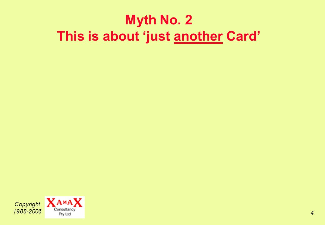 Copyright Myth No. 2 This is about just another Card
