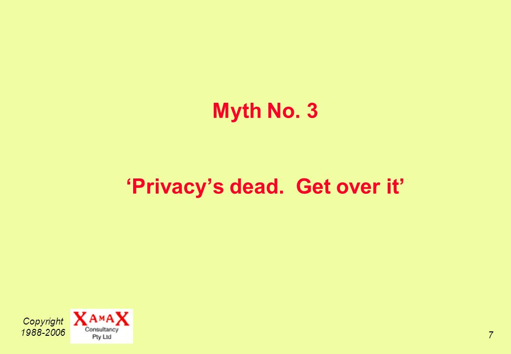 Copyright 1988-2006 8 Privacy is a Fundamental Requirement for Humanity and Civilisation psychologically, people need private space, closed doors, drawn curtains.