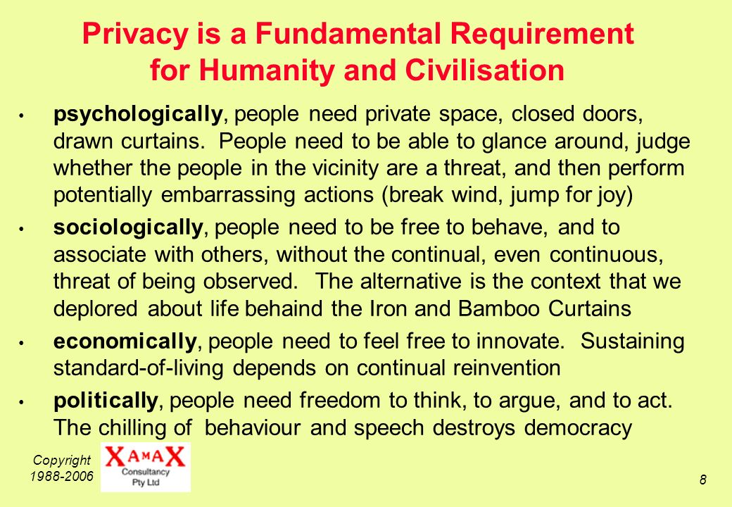 Copyright 1988-2006 9 Privacy is a Fundamental Human Right, not an Optional Extra UDHR 1948, Article 12 ICCPR 1966, Article 17 national Constitutions and Bills of Rights Privacy is not a Mere Economic Right