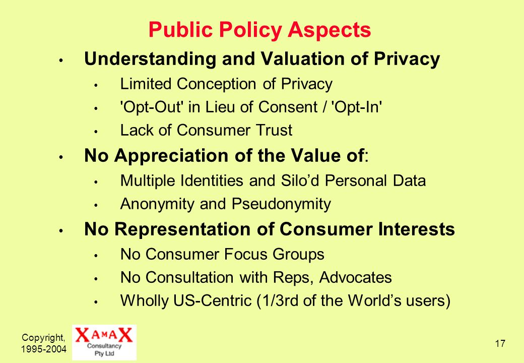 Copyright, 1995-2004 17 Public Policy Aspects Understanding and Valuation of Privacy Limited Conception of Privacy Opt-Out in Lieu of Consent / Opt-In Lack of Consumer Trust No Appreciation of the Value of: Multiple Identities and Silod Personal Data Anonymity and Pseudonymity No Representation of Consumer Interests No Consumer Focus Groups No Consultation with Reps, Advocates Wholly US-Centric (1/3rd of the Worlds users)