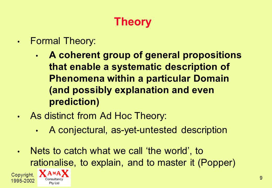 Copyright, Theory Formal Theory: A coherent group of general propositions that enable a systematic description of Phenomena within a particular Domain (and possibly explanation and even prediction) As distinct from Ad Hoc Theory: A conjectural, as-yet-untested description Nets to catch what we call the world, to rationalise, to explain, and to master it (Popper)