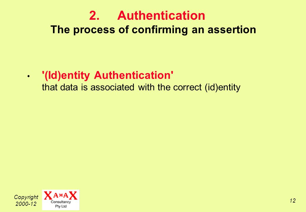 Copyright 2000-12 12 2.Authentication The process of confirming an assertion (Id)entity Authentication that data is associated with the correct (id)entity