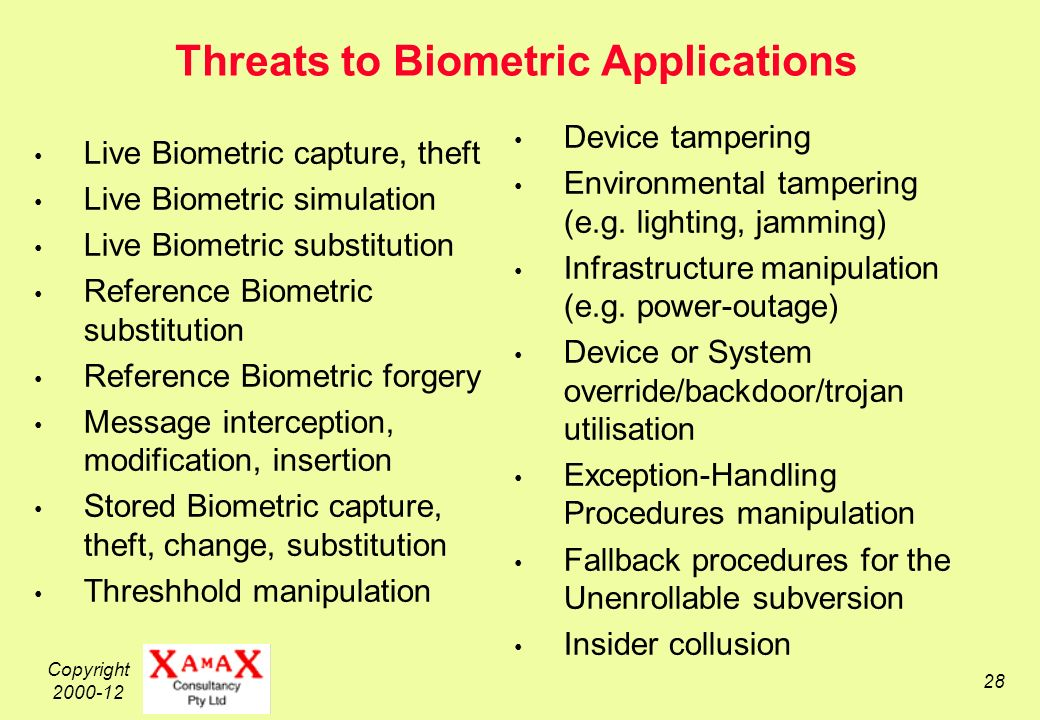 Copyright 2000-12 28 Threats to Biometric Applications Live Biometric capture, theft Live Biometric simulation Live Biometric substitution Reference Biometric substitution Reference Biometric forgery Message interception, modification, insertion Stored Biometric capture, theft, change, substitution Threshhold manipulation Device tampering Environmental tampering (e.g.