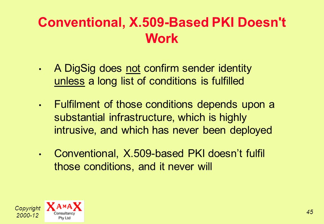 Copyright 2000-12 45 Conventional, X.509-Based PKI Doesn t Work A DigSig does not confirm sender identity unless a long list of conditions is fulfilled Fulfilment of those conditions depends upon a substantial infrastructure, which is highly intrusive, and which has never been deployed Conventional, X.509-based PKI doesnt fulfil those conditions, and it never will