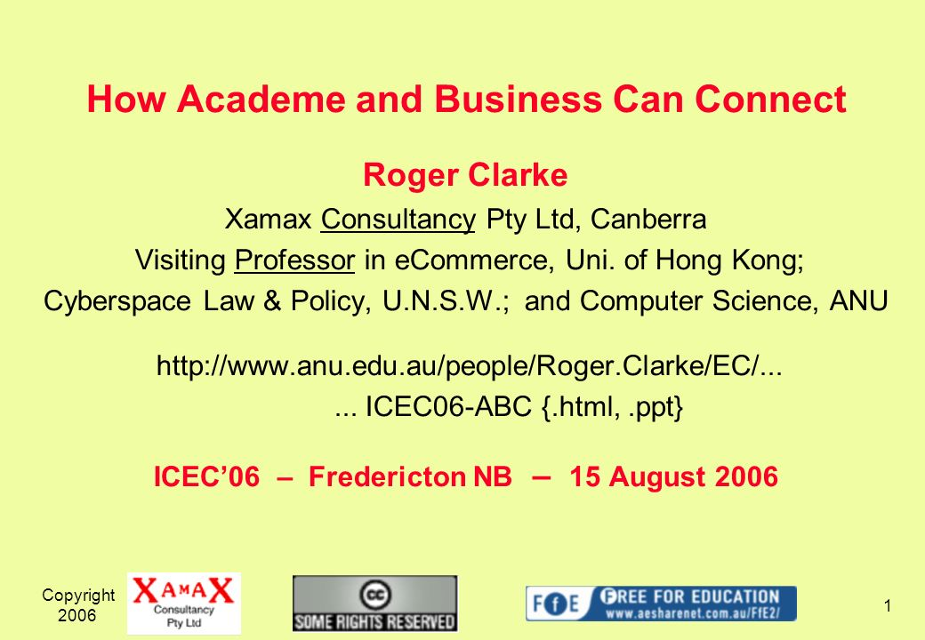 Copyright 2006 2 How Academe and Business Can Connect What does Academe think Academe does.