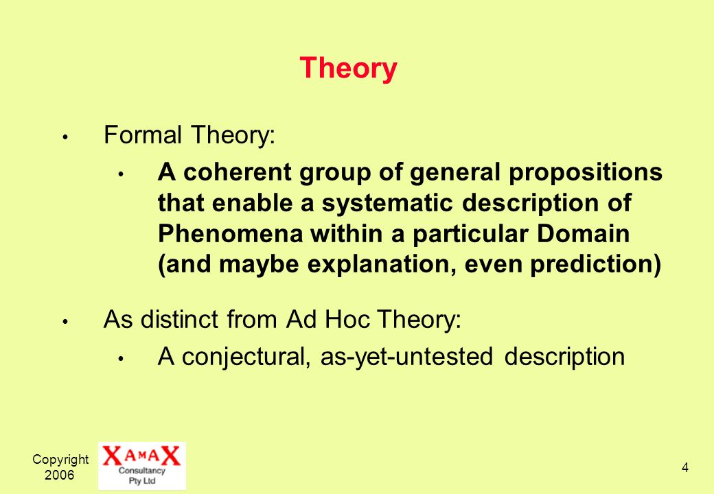 Copyright 2006 4 Theory Formal Theory: A coherent group of general propositions that enable a systematic description of Phenomena within a particular Domain (and maybe explanation, even prediction) As distinct from Ad Hoc Theory: A conjectural, as-yet-untested description