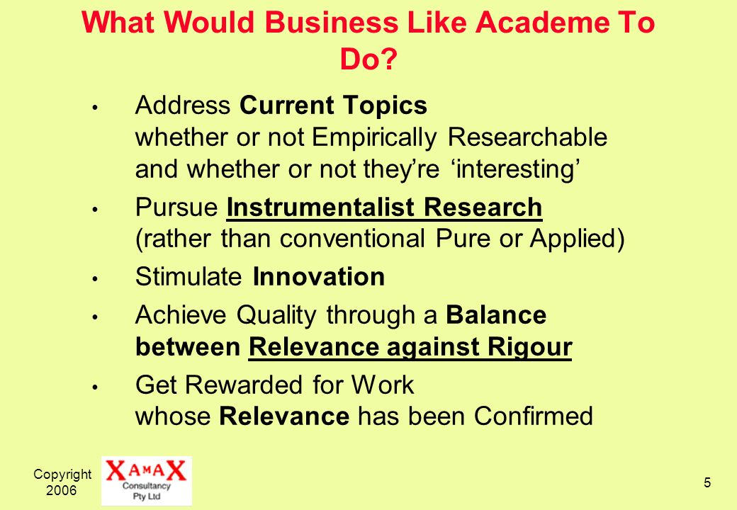 Copyright 2006 5 What Would Business Like Academe To Do.