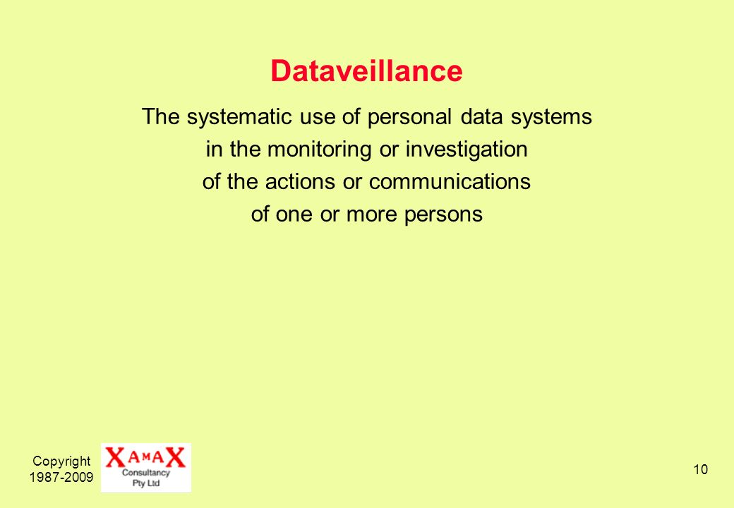 Copyright 1987-2009 10 Dataveillance The systematic use of personal data systems in the monitoring or investigation of the actions or communications of one or more persons