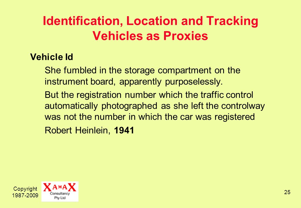 Copyright 1987-2009 25 Identification, Location and Tracking Vehicles as Proxies Vehicle Id She fumbled in the storage compartment on the instrument board, apparently purposelessly.