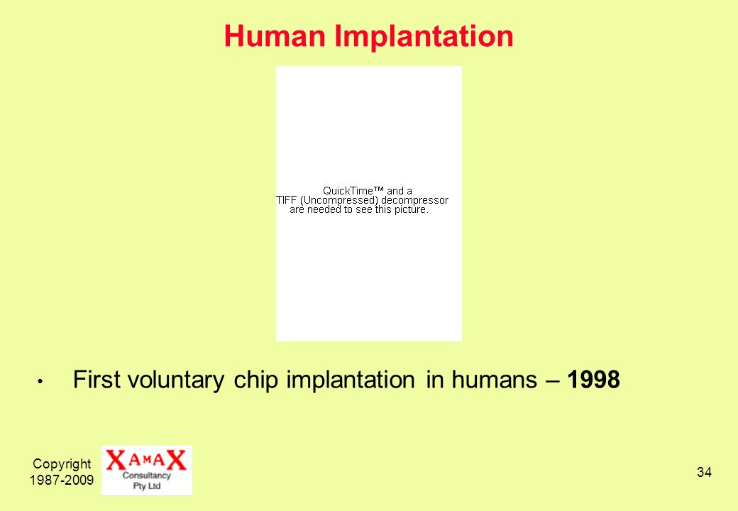 Copyright 1987-2009 34 Human Implantation First voluntary chip implantation in humans – 1998
