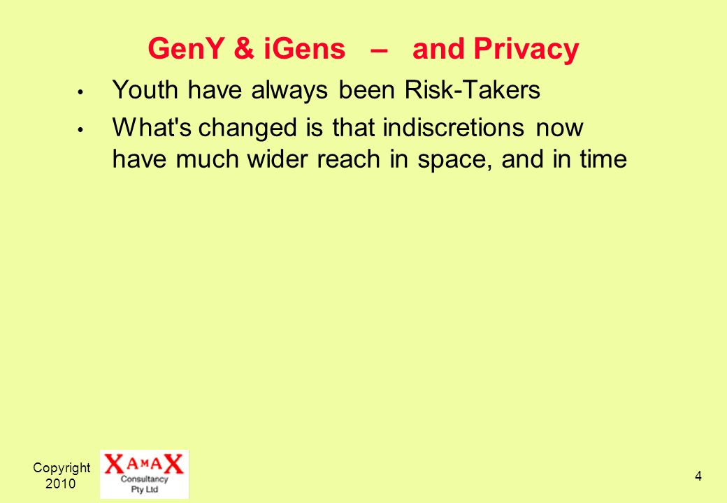 Copyright 2010 4 GenY & iGens – and Privacy Youth have always been Risk-Takers What's changed is that indiscretions now have much wider reach in space
