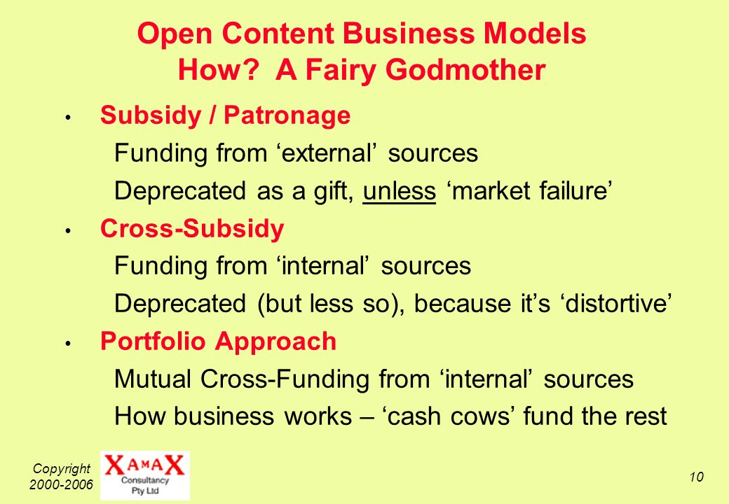Copyright 2000-2006 10 Open Content Business Models How.