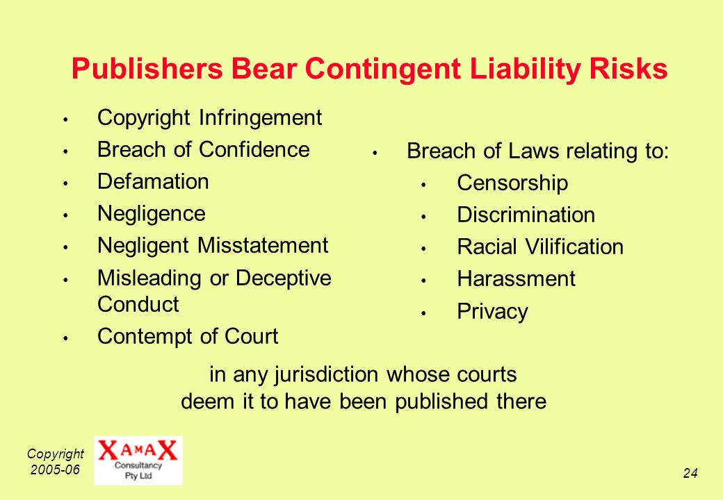 Copyright 2005-06 24 Publishers Bear Contingent Liability Risks Copyright Infringement Breach of Confidence Defamation Negligence Negligent Misstatement Misleading or Deceptive Conduct Contempt of Court Breach of Laws relating to: Censorship Discrimination Racial Vilification Harassment Privacy in any jurisdiction whose courts deem it to have been published there