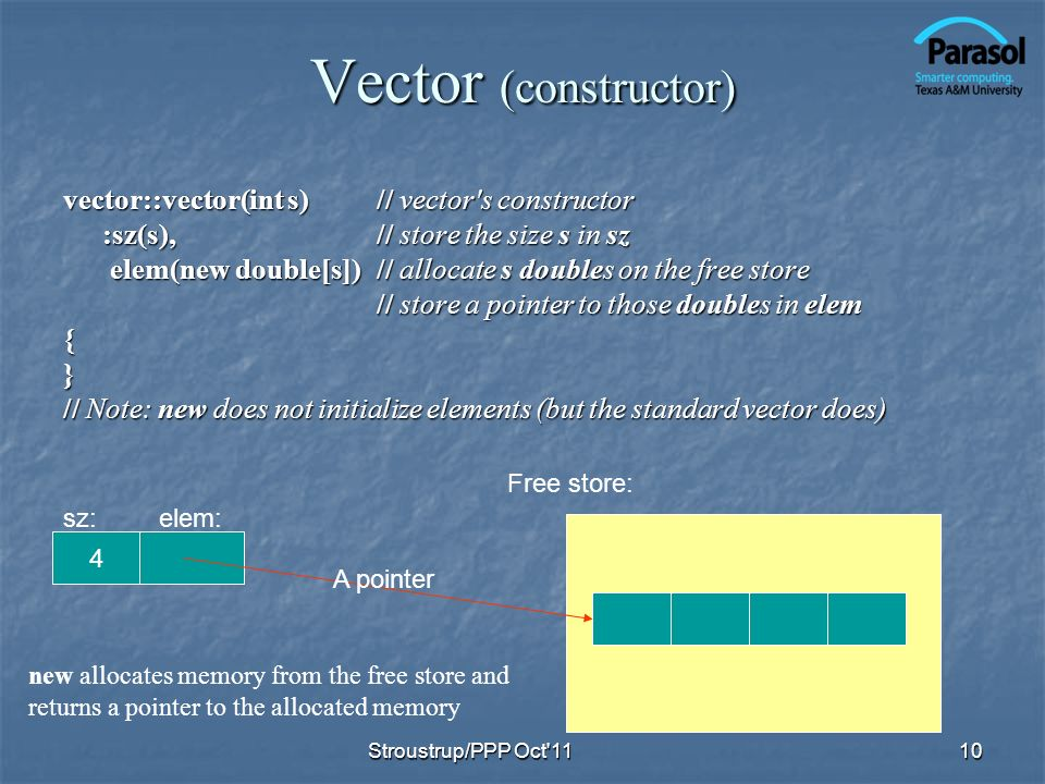 Vector (constructor) vector::vector(int s)// vector s constructor :sz(s),// store the size s in sz elem(new double[s])// allocate s doubles on the free store elem(new double[s])// allocate s doubles on the free store // store a pointer to those doubles in elem {} // Note: new does not initialize elements (but the standard vector does) 10 Free store: 4 new allocates memory from the free store and returns a pointer to the allocated memory A pointer sz:elem: Stroustrup/PPP Oct 11