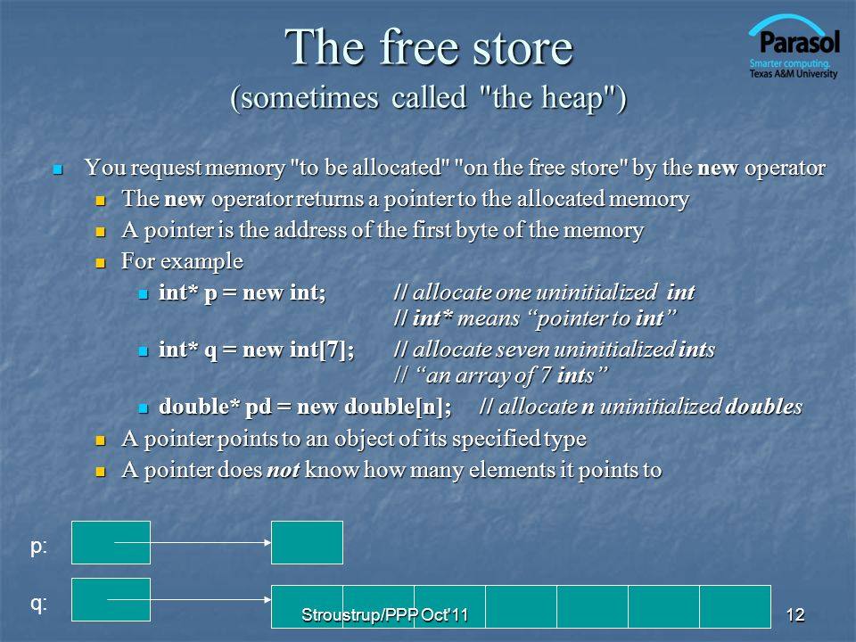 The free store (sometimes called the heap ) You request memory to be allocated on the free store by the new operator You request memory to be allocated on the free store by the new operator The new operator returns a pointer to the allocated memory The new operator returns a pointer to the allocated memory A pointer is the address of the first byte of the memory A pointer is the address of the first byte of the memory For example For example int* p = new int;// allocate one uninitialized int // int* means pointer to int int* p = new int;// allocate one uninitialized int // int* means pointer to int int* q = new int[7];// allocate seven uninitialized ints // an array of 7 ints int* q = new int[7];// allocate seven uninitialized ints // an array of 7 ints double* pd = new double[n];// allocate n uninitialized doubles double* pd = new double[n];// allocate n uninitialized doubles A pointer points to an object of its specified type A pointer points to an object of its specified type A pointer does not know how many elements it points to A pointer does not know how many elements it points to 12 p: q: Stroustrup/PPP Oct 11