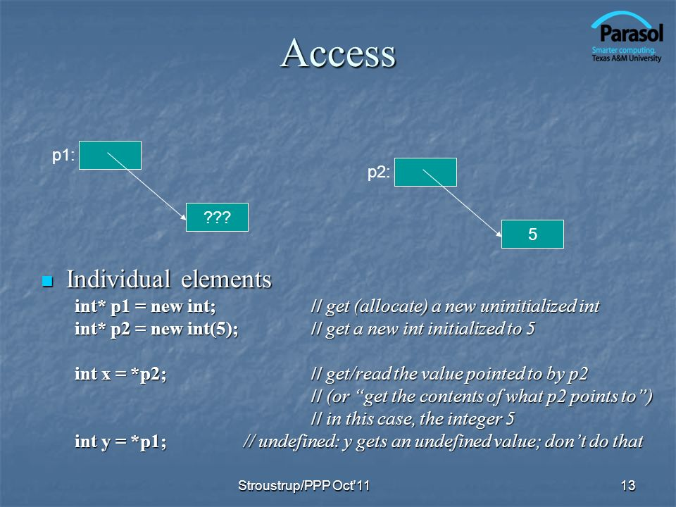Access Individual elements Individual elements int* p1 = new int;// get (allocate) a new uninitialized int int* p2 = new int(5);// get a new int initialized to 5 int x = *p2;// get/read the value pointed to by p2 // (or get the contents of what p2 points to) // in this case, the integer 5 int y = *p1;// undefined: y gets an undefined value; dont do that 13 5 p2: .