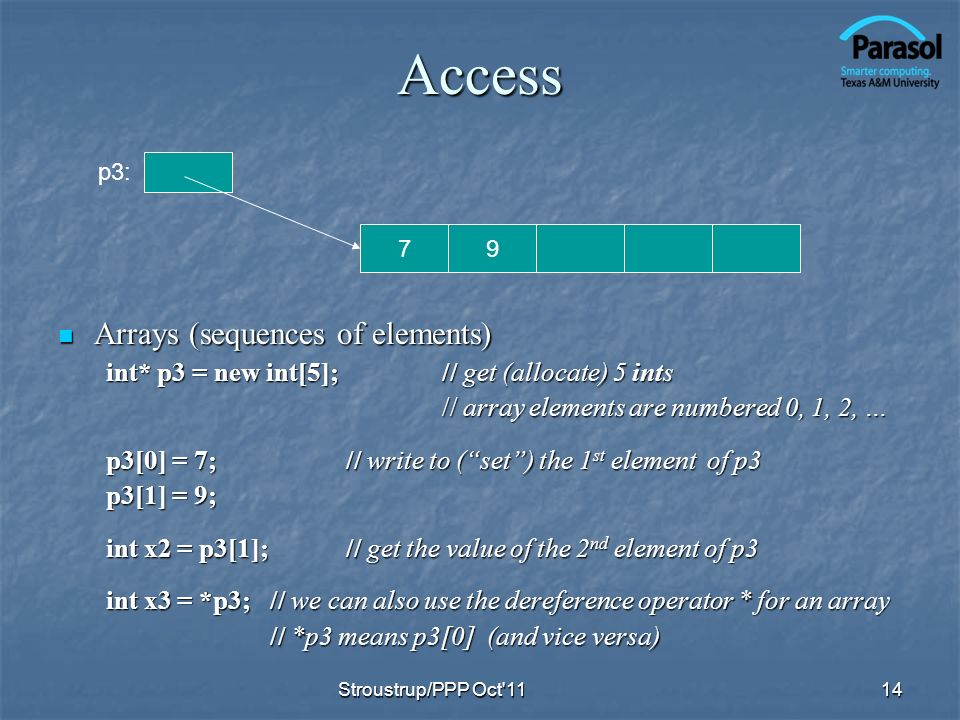 Access Arrays (sequences of elements) Arrays (sequences of elements) int* p3 = new int[5];// get (allocate) 5 ints // array elements are numbered 0, 1, 2, … p3[0] = 7;// write to (set) the 1 st element of p3 p3[1] = 9; int x2 = p3[1];// get the value of the 2 nd element of p3 int x3 = *p3; // we can also use the dereference operator * for an array // *p3 means p3[0] (and vice versa) // *p3 means p3[0] (and vice versa) 14 79 p3: Stroustrup/PPP Oct 11