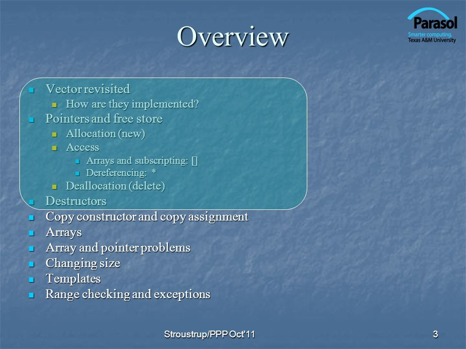 Overview Vector revisited Vector revisited How are they implemented.
